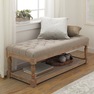 The Gray Barn Creston Beige Linen Tufted Bench