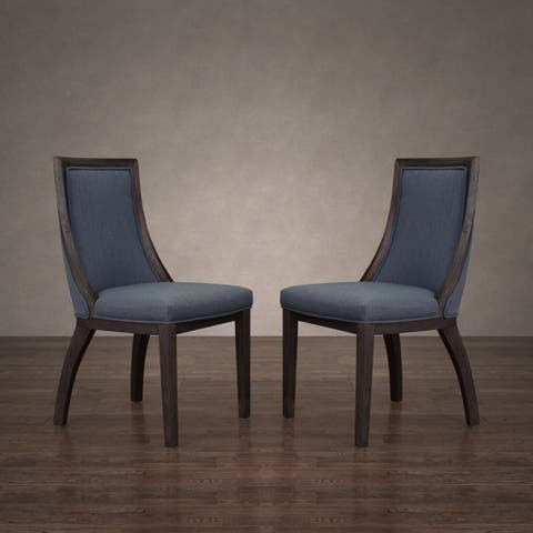 The Gray Barn Park Avenue Austria Navy Linen Dining Chair (Set of 2)