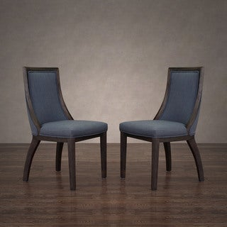 Stones & Stripes Park Avenue Austria Navy Linen Dining Chair (Set of 2)