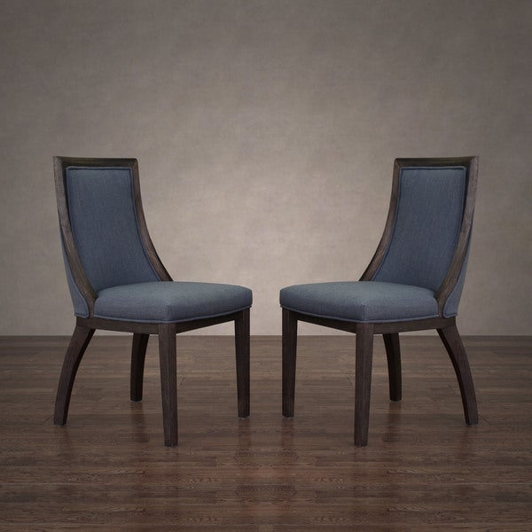 Park Avenue Austria Navy Linen Dining Chair Set Of 2 Free Shipping