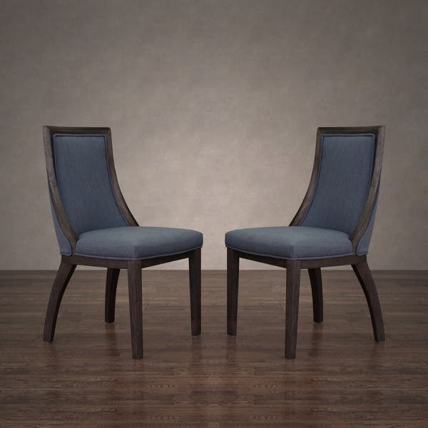 Shop Black Friday Deals On The Gray Barn Park Avenue Austria Navy Linen Dining Chair Set Of 2 Overstock 12061203