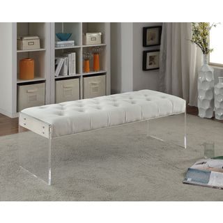 Simple living leona bench with acrylic legs prices for Ava nailhead chaise