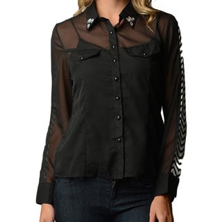 Dinamit Women's Black Chiffon Plus Size Chevron Pattern Blouse