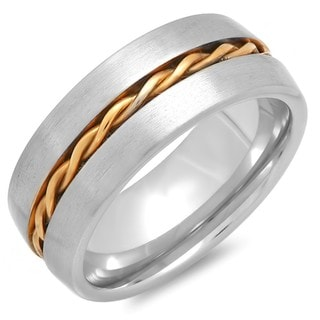 Men's Stainless Steel 18k Two-tone Goldplated Inlay Ring
