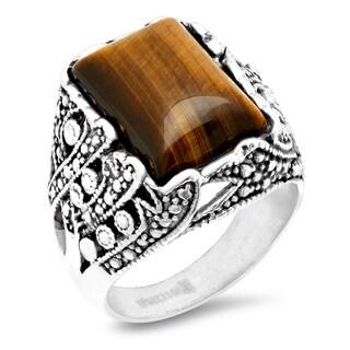 Steeltime Men's Stainless Steel Tiger Eye Ring