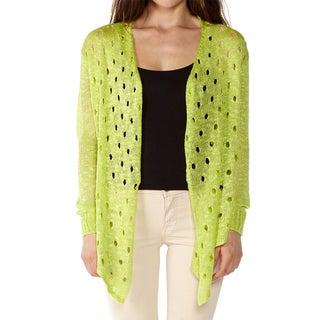 Dinamit Women's Multicolored Cotton Open-front Cardigan