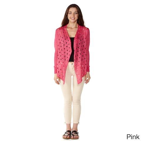 Dinamit Women's Multicolored Cotton Open-front Cardigan