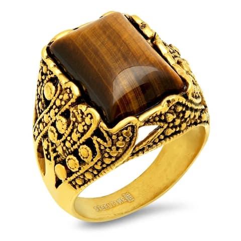 Men's Steeltime Gold Tone Tiger Eye Ring