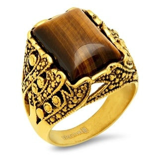 Men's Steeltime 18k Goldplated Tiger Eye Ring