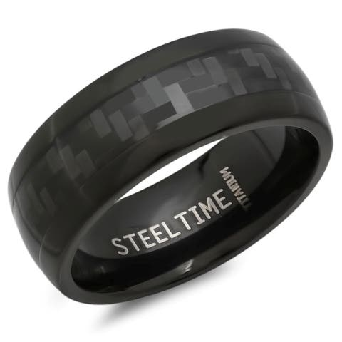 Men's Black Titanium Carbon Fiber Ring