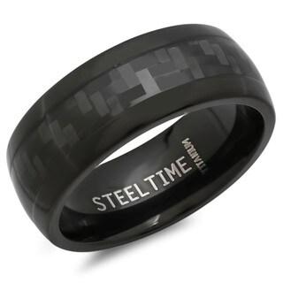 Men's Black Titanium Carbon Fiber Ring