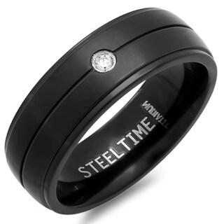Men's Black Titanium Cubic Zirconia Ring