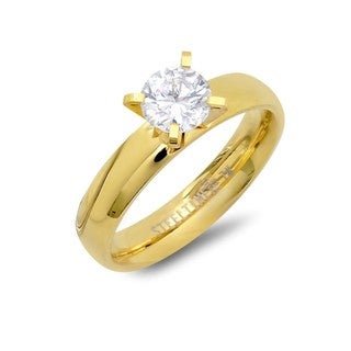 Goldplated Stainless Steel Cubic Zirconia Engagement Ring