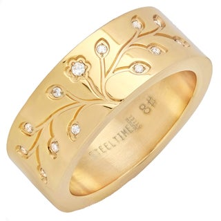 18k Gold-plated Stainless Steel Cubic Zirconia Tree of Life Ring