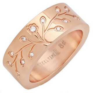 Piatella Ladies Rose Gold Tone Stainless Steel Cubic Zirconia Accent Tree of Life Ring