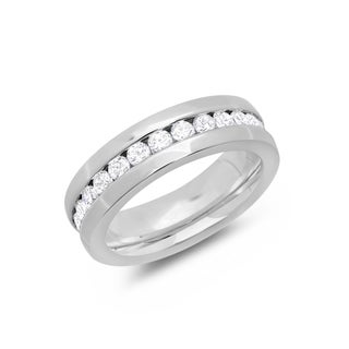 Ladie's Silvertone Stainless Steel Cubic Zirconia Eternity Band