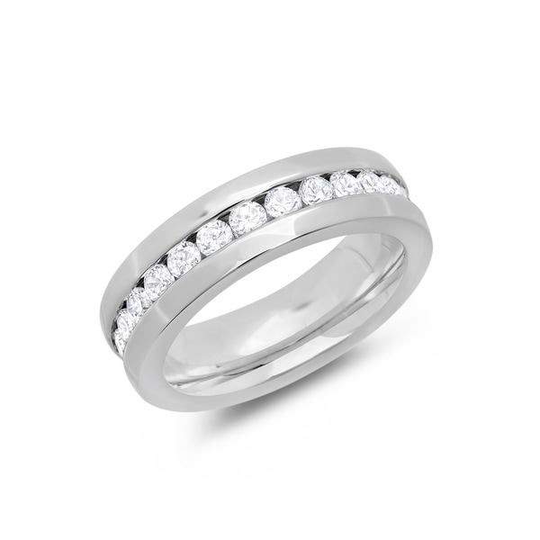 Piatella Ladies Stainless Steel Cubic Zirconia Eternity Band