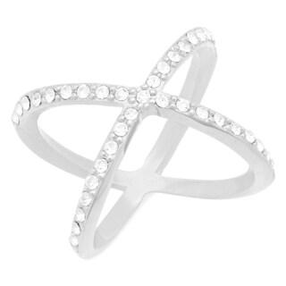 Silvertone CZ X Ring