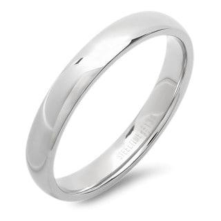 silvertone stainless steel 4 millimeter band ring - Overstock Wedding Rings