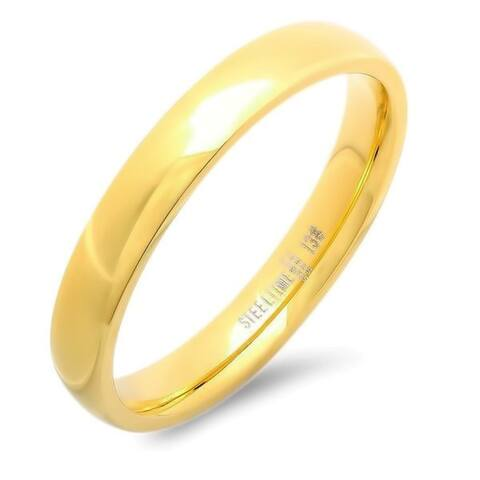 Steeltime Unisex Gold Tone Stainless Steel 4-millimeter Band Ring