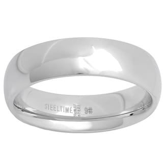 Silvertone Stainless Steel 6-millimeter Band Ring