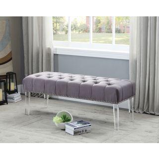 Meridian Celine Grey Velvet Bench