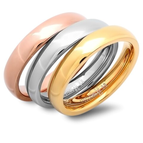 Tri-color Wedding Band Rings (Set of 3)