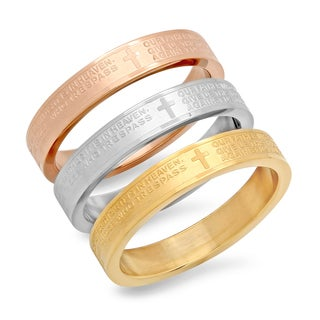 Our Father Tri-color Stainless Steel Bands (Pack of 3)