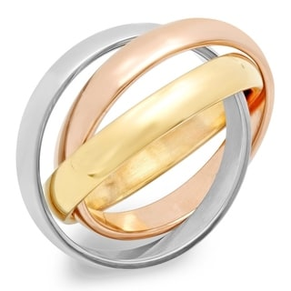Tri-color Goldplated Stainless Steel Intertwined Ring