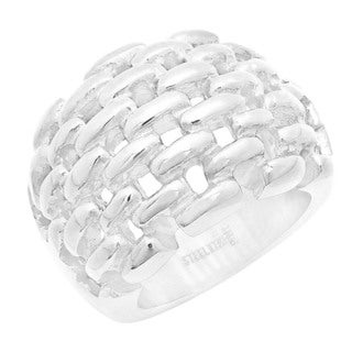 Silvertone Basketweave Ring