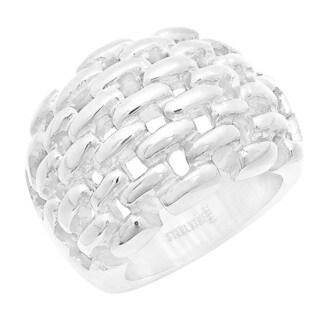 Piatella Ladies Stainless Steel Basketweave Ring