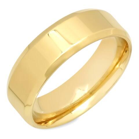 Steeltime Men's Gold Tone Ridged Band Ring
