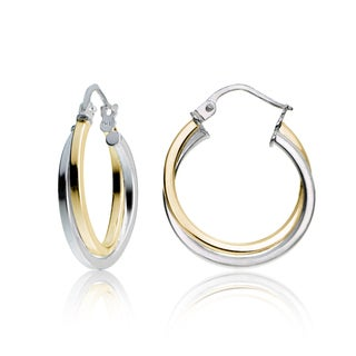 Mondevio Sterling Silver Intertwining Square-Tube Polished Hoop Earrings, 20mm