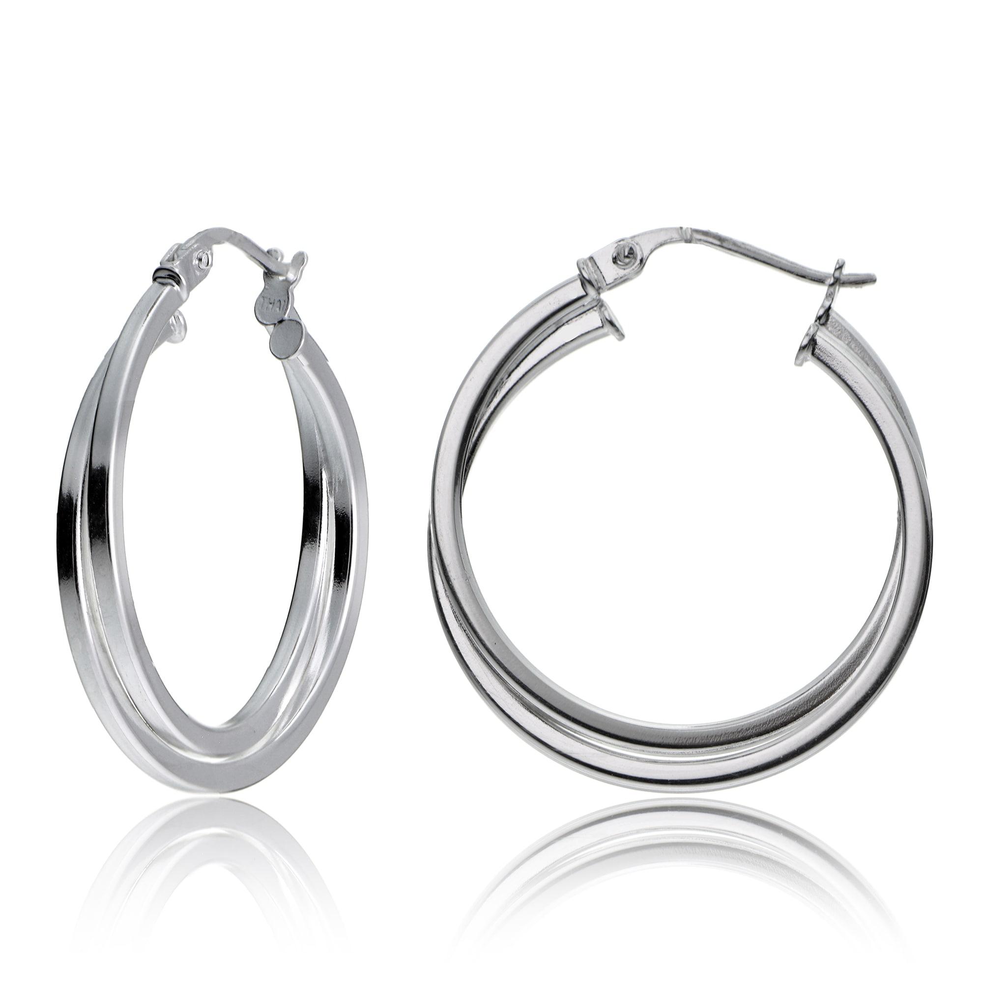 "925 Sterling Silver Italian 4mm Tube Plain Hoop Polished Earrings 1.25/"""