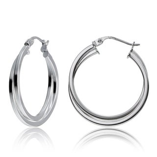 Mondevio Sterling Silver Intertwining Square-Tube Polished Hoop Earrings, 25mm (Option: White/Yellow/Two-Tone)