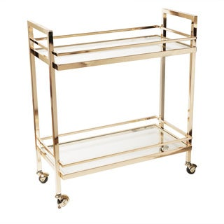 Design Guild Gold and Glass Rolling Cart