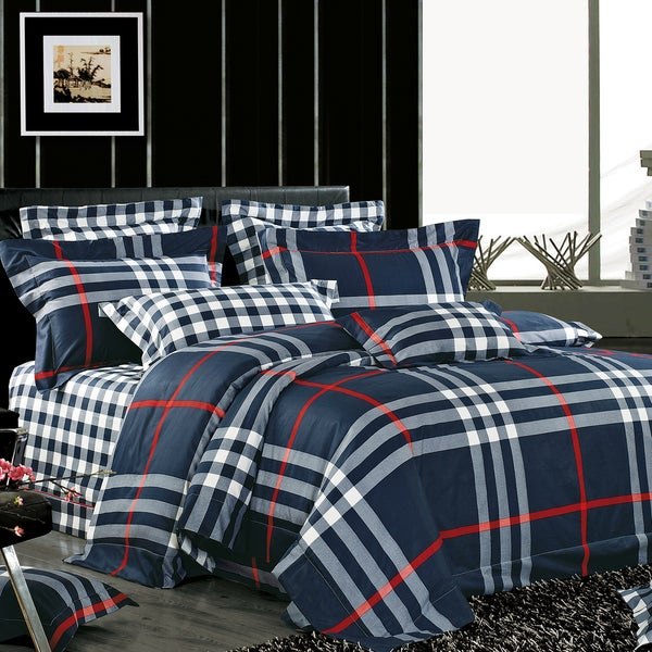 Berkley Plaid Cotton 4-piece Duvet Cover Set