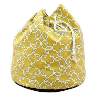 Woburn Sunflower Black, White, Yellow Fabric 20-inch Round Laundry Bag with Grommets and Tie Closure