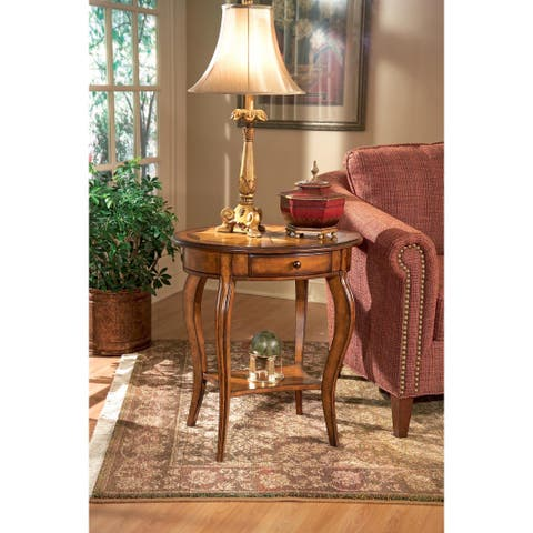 Butler Solid Wood Lightly Distressed Oval Accent Table in Olive Ash Burl Finish
