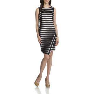 London Times Women's Deauville Striped Asymmetrical Hem Sheath Dress