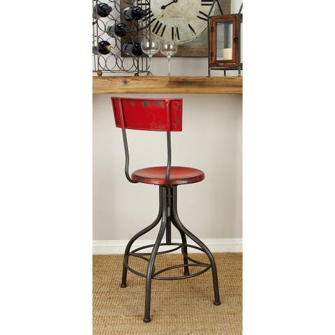 Rustic 41 Inch Distressed Red Adjustable Iron Bar Chair by Studio 350
