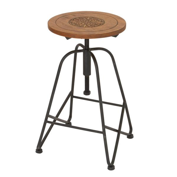 Shop Modish Metal Wood Adjustable Bar Chair 14 Inch Wide