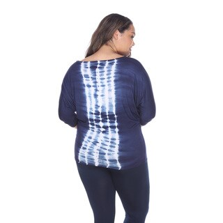 White Mark Women's Black, Blue, Grey Rayon, Spandex Plus-size Tie-dye Dolman Sleeve Tunic