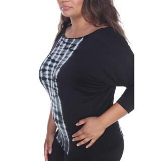 White Mark Women's Black, Blue, Grey Rayon, Spandex Plus-size Tie-dye Dolman Sleeve Tunic