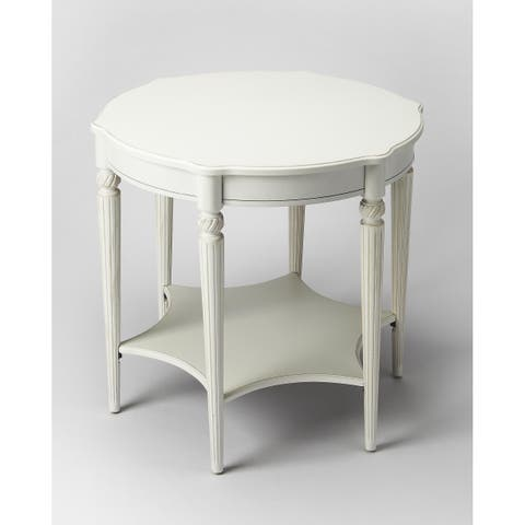 """Butler 28""""H Crafted Solid Hardwood Accent Table in Cottage White Finish"""