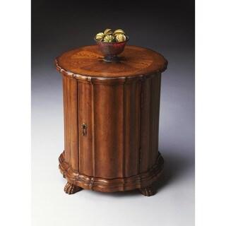 Butler Maxfield Brown Veneer and Wood Vintage Drum Table