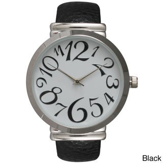 Olivia Pratt Women's Embossed Leather Cuff Watch