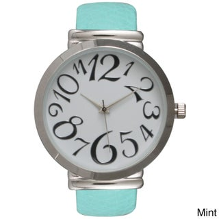 Olivia Pratt Women's Embossed Leather Cuff Watch (2 options available)