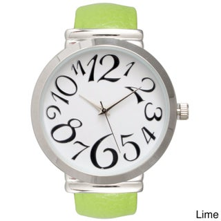 Olivia Pratt Women's Embossed Leather Cuff Watch (4 options available)