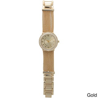 Olivia Pratt Multicolor Mineral and Metal Women's Classic Inspired Rhinestone Accented Watch